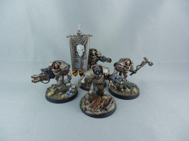 Iron Warriors Cataphractii Command Squad with Warsmith